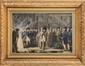 JEAN-FRANÇOIS BOSIO (1724-1827) attribué à « L'Empereur Napoléon 1er et l'Impératrice Marie Louise : la visite d'une fonderie, le 7 novembre 1811 à Liège» Plume, gouache et aquarelle (petits plis et usures) Sous verre. Important cadre doré. 33 x 49