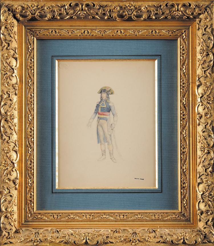 EDOUARD DETAILLE (1848-1912) «Le général Bonaparte en pied» Crayon et aquarelle, avec cachet à l'encre en bas à droite et cachet sec en haut à gauche. Sous-verre, cadre doré 30 x 23 cm