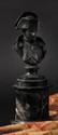 A.CHAUDET (1763-1810), D'APRES.  ECOLE FRANÇAISE. « L'Empereur Napoléon Ier, en uniforme. » Buste en bronze, sur piédouche, monté sur une colonne en marbre surmontant une terasse en bronze.  Ht : 26 cm.  B.E.