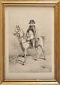 LUCIEN GAULIER, d'après Meissonnier. Napoléon Ier à cheval Lithographie. Sous verre. Cadre en bois doré. 49 x 33 cm. (Petites rousseurs). 80/120 € Jean-Louis-Ernest MEISSONIER (1815 - 1891) : Peintre et sculpteur français spécialisé dans la