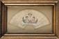 « AIR DE LA SENTINELLE » Projet d'éventail orné des portraits de « l'Empereur Napoléon Ier » et de  « l'Impératrice Marie Louise », encadré  de trois couplets.  Gravure aquarellée.  Sous verre. Cadre doré.  B.E. Epoque Premier Empire.