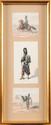 EDOUARD DETAILLE (1848-1912). ECOLE FRANÇAISE DU XIXE SIECLE.  « Aide de camp, grenadier à pied de la Garde et Guide. »  Suite de trois petits dessins aquarellés, monogrammés « ED » pour deux.  B.E.