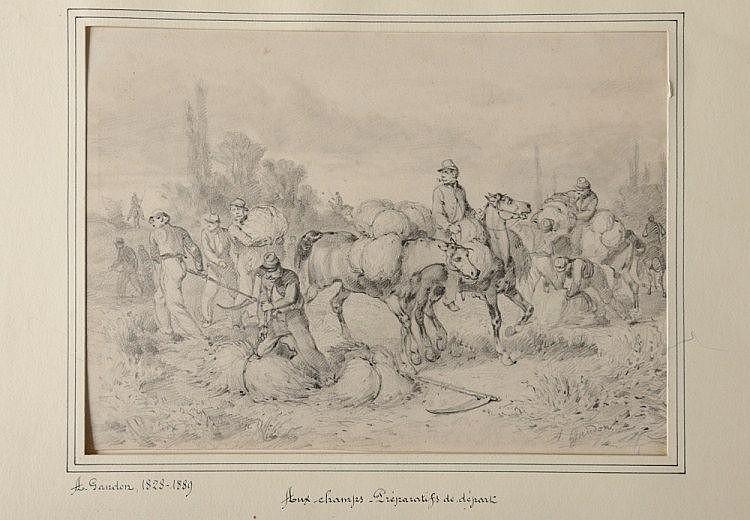 Aldolphe GANDON (1828-1889).  « Aux champs. Préparatifs de départ de  soldats sous le Second Empire. »  Dessin au crayon noir signé en bas à  droite, avec passe-partout.  16 x 22 cm.  B.E.