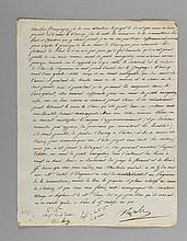 NAPOLÉON Ier. Lettre signée « Napole », adressée à Jean-Baptiste de Nompère de Champagny. Paris, 15 ventôse an XIII [6 mars 1805]. 1 p. in-4. L'empereur avait décidé par décret du 19 mai 1802 que le canal de l'Ourcq devait servir à