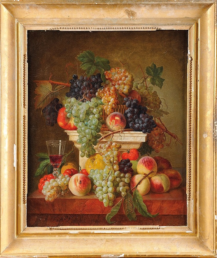 François Nicolas LAURENT (1785- Orléans, 1828) «Pêches, grappes de raisins et verre de vin sur une colonne en marbre » Huile sur toile signée en bas à gauche « F.N. Laurent » Réentoilage ancien. Cadre doré 73.5 x 60 cm François Nicolas Laurent, élève