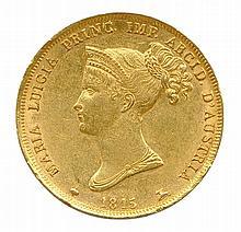 Marie Louise Duchesse de Parme,  Plaisance et Guastalla épouse  de napoléon ier (1815-1847)  40 lire or 1815. (12.93g)  Très beau.  Ancienne collection Bertrand - de Boëry