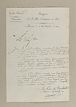 NAPOLÉON Ier. Apostille autographe signée « Napo » (Moscou, 16 octobre 1812, 1 mot) sur une pièce signée « Alexandre » par le maréchal Louis-Alexandre Berthier (mêmes lieu et date, 1 p. in-folio). Le major-général de la Grande armée rapporte : « Le