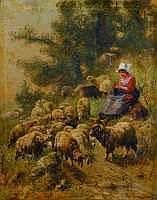 Henry SCHOUTEN - La gardienne de troupeau,