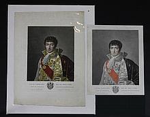 GREGORIUS, D'APRES.  « Louis Napoléon Roi de Hollande » Deux gravures aquarellées par Ruotte, aux Grandes Armes de Louis. 45 x 33 cm. B.E. Deux autres variantes, une au manteau rouge, l'autre au manteau non aquarellé.               150/250€