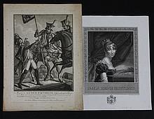 DEUX GRAVURES :  -«S.M. La Reine Hortense », d'après Gérard.  38 x 30 cm.  -« Mort de La Tour d'Auvergne, 1er grenadier de la République. »  25 x 37 cm.  A.B.E. (Infimes rousseurs à une).