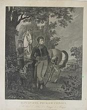 LAMBERT, D'APRES.  « Bonaparte Premier Consul, méditant le plan d'attaque de Marengo. » Gravure par Rinaldi, publiée en l'An XI.  58 x 46 cm.  A.B.E.