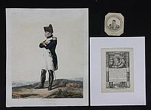 DEBUCOURT, D'APRES. On y joint deux petites miniatures de l'Empereur dont une illustrant le 1er bulletin de la Grande armée.  « L'Empereur Napoléon Ier en uniforme de colonel des grenadiers de la Garde. »  Gravure aquarellée.  37 x 47 cm.