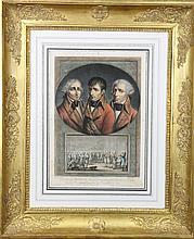 VAN GORP, D'APRÈS. «Les trois consuls. Le consulat à vie.»  Eau forte en couleurs par Duplessis Bertaux .  Sous verre. Cadre doré à décor de palmettes.  39 x 27 cm.  A.B.E (Petites tâches d'humidité)