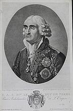BOILLY, D'APRES.  « S.A.S. Mgr le Duc de Parme. » Gravure par Gaillard, aux Grandes Armes de Cambacérès.  37 x 24 cm.  A.B.E.