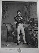 PAJOU FILS, D'APRES.  « Alexandre Prince de Neufchâtel. Vice connétable. » Gravure par Hubert Lefevre aux Grandes Armes de Berthier.  69 x 50 cm.  A.B.E.