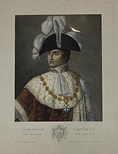 DUMONT, D'APRES.  « Napoléon en habit de sacre. » Gravure aquarellée par Bourgeois de la Richardière. 44 x 34 cm.  B.E.