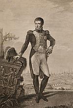 BOSIO, D'APRES.  « Joseph Napoléon Roi des Espagnes et des Indes. »  Gravure aux Grandes Armes du Roi, gravé par Louis Rados en 1810.  76 x 48 cm. A.B.E.