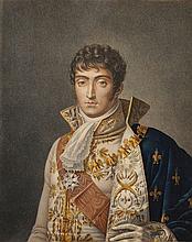 GREGORIUS, D'APRÈS.  « Louis Napoléon Roi de Hollande » Gravure aquarellée par Ruotte, aux Grandes Armes de Louis. 45 x 33 cm. B.E. Le manteau est bleu.