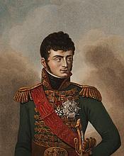 KINSON, D'APRES. « Jérôme Napoléon, Roi de Westphalie. » Gravure aquarellée par Ruotte, aux Grandes Armes de Jérôme. 45 x 33 cm.  B.E.