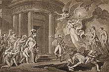 MONNET, D'APRES. « Le triomphe de la religion en France, sur l'athéisme révolutionnaire. »  Grande gravure par Dorger.  53 x 68 cm. B.E.