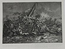 HENNEQUIN (D'APRES) « Le citoyen Salmon défendant son drapeau devant Cherbourg » Gravure. 35 x 44 cm B.E.
