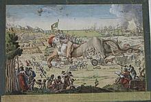 « BONAPARTE TRIOMPHANT DE L'HORRIBLE REVOLUTION EN L'AN VIII ». Rare gravure italienne rehaussée d'aquarelle avec légende à la plume. 42 x 57  cm A.B.E. (usures).On y joint une traduction manuscrite de la légende