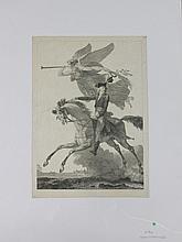 COPIA (D'APRES) « La Renommée protégeant le général Bonaparte ». Eau forte. 42 x 30 cm B.E.