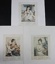 LAFITTE (D'APRES) « Floréal » « Thermidor » « Frimaire » Trois gravures aquarellées d'allégories des mois révolutionnaires. 35 x 27 cm A.B.E.