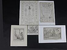 LE GENERAL BONAPARTE Ensemble de six gravures sur : le débarquement de Bonaparte à Toulon en l'an VIII,  la liberté retrouvée en Italie,  Frontispice des fables d'Esope dédié au 1er Consul... B.E.