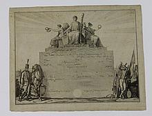 VERNET C. (D'APRES) « Congé absolu délivré au citoyen » Modèle gravé de congé absolu. 30 x 35 cm. AB.E.