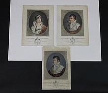 « L'EMPEREUR NAPOLEON ET L'IMPERATRICE JOSEPHINE »  Paire de gravures aquarellées.  30 x 23 cm. B.E.On y joint : une seconde gravure au modèle de celle de Napoléon mais aqarellée differement