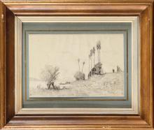 Auguste ANASTASI (1820-1889) Au bord de l'île de Bougival Crayon noir Monogrammé en bas à gauche 16 x 24 cm (à vue) Black crayon, monogrammed lower left, 6 19/64 x 9 29/64