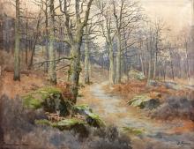 Joseph-Clément-Maxime JEANNOT (1855-?) Forêt de Fontainebleau Aquarelle Signé en bas à droite et situé en bas à gauche 48 x 63,5 cm (à vue) Watercolour, signed lower right and located lower left, 18 7/8 x 25 in