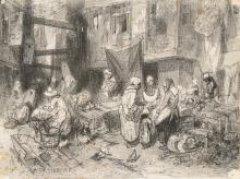Louis Adolphe HERVIER (1818-1879) Le marché normand Crayon noir Signé et daté en bas à gauche «57 Hervier» 13,5 x 18 cm (quelques taches) Black crayon, signed and dated lower left, 5 5/16 x 7 1/16 in