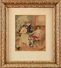 Bernard Louis BORIONE (1865-?) Jeu de cartes Aquarelle Signé en bas à droite 26 x 30 cm (à vue) Watercolour, signed lower right, 10 1/4 x 11 13/16 in Peintre aquarelliste. Elève de son père et de Luminais. Il a exposé au Salon des Artistes Français de 1911 à 1920.