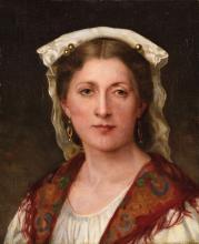 Eugénie Marie SALANSON (1836-1912), attribué à Portrait de sa fille Huile sur toile 46 x 38 cm Oil on canvas, 18 1/8 x 14 15/16 in