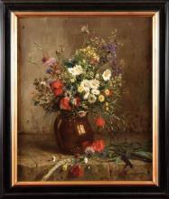 Eugénie Marie SALANSON (1836-1912) Bouquet de fleurs Huile sur toile Signé en bas à droite 66 x 54 cm Oil on canvas, signed lower right, 26 x 21 1/4 in