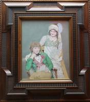 Jean Alexandre CORABOEUF (1870-1947) Portrait d'une jeune couple Huile sur toile signée en bas à gauche Très beau cadre mouluré et sculpté en placage de palissandre 44 x 36 cm