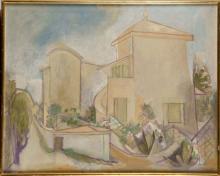 FRANÇOISE GILOT (NÉE EN 1921) Vue présumée de la villa La Galloise à Vallauris Huile sur toile Sign