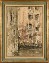 ISAMU HIRAKAWA (JPN/ 1921-1989) Canal à Venise Huile sur toile Signé et daté 'ISAMU HIRAKAWA 1969' (