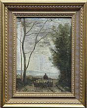 Edmond RENAULT (1829-1905) Scène au berger Huile sur toile d'origine Signée en bas à gauche et située Honfleur en bas à droite 33 x 24 cm