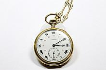 MOERIS MONTRE de GOUSSET en or jaune et sa chaine Poids brut: 69,1 g  A yellow gold pocket watch by Moeris.
