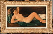 LUIGI CORBELLINI (1901-1968) Nu allongé Huile sur toile Signé en bas à droite 45 5 x 81 5 cm