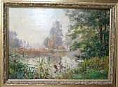 Paul LOUCHET(1854-1936) - Paysage à l'étang