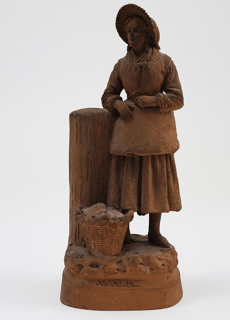 Eugene BLOT (1830 - 1899) 'La matelotte' Sculpture en terre cuite. Signé et titré sur la terrasse  H. 27,5 cm