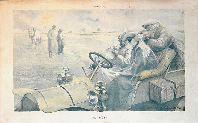 Louis SABATTIER (1863-1935).  « Perdus ».  Estampe en couleurs, signée en bas à droite et ti
