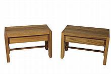 Pierre CHAPO (1927-1987) * Paire de tables de chevets en pin ouvrant par un tiroir en ceinture Circa 1960 35 x 55 cm x 34 cm