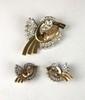 DEMI PARURE composée d'une broche et d'une paire de boucles d'oreilles stylisant un oiseau. La monture en or jaune lisse composée de volutes ponctuées d'or jaune lisse et grillagé, dans un entourage de diamants de taille moderne,la monture réhaussé