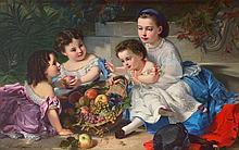 Charles Edouard BOUTIBONNE (1816-1897)  Jeux d'enfants Sur sa toi