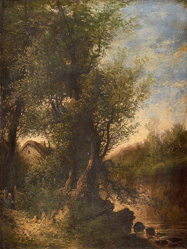 Anatole Paul RAY (XIX) Paysage animé Sur sa toile d'origine Signé